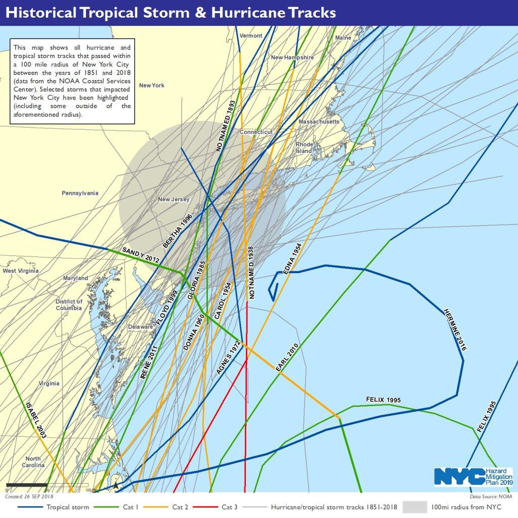 Historical Tropical Storm & Hurricane Tracks