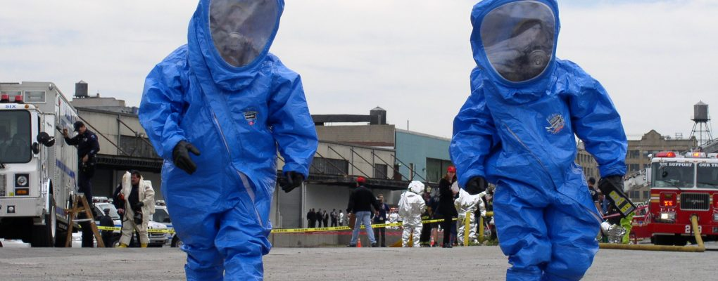 Emergency responders in HAZMAT suits.  Courtesy of NYCEM.