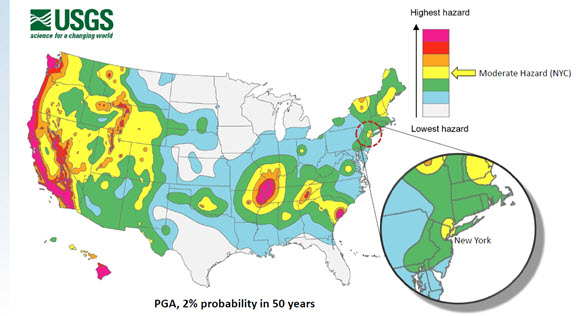 Frequency of Damaging Earthquake Shaking in the United States