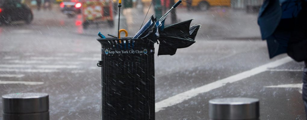Broken umbrellas in a trashcan. Courtesy of the Mayor's Office of Photography.