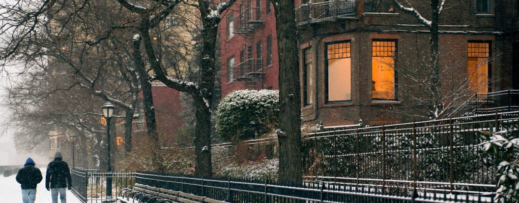 Brownstones in the snow. Courtesy of Mayor's Office of Photography.