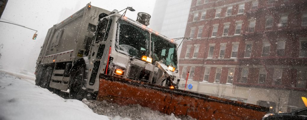 DSNY snow plows. Courtesy of Mayor's Office of Photography.
